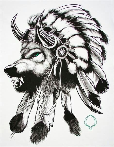 Native American Wolf Headdress Tattoo Sample