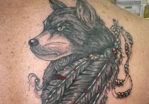 Native American Wolf With Feather Tattoos