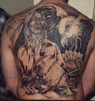 Native American Woman And Eagle Tattoos On Whole Back