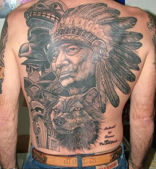 Native American Woman And Wolf Tattoos On Back