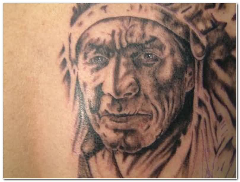 Native American Woman Close Up Tattoo