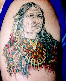 Native American Woman In Colorful Dress Tattoo
