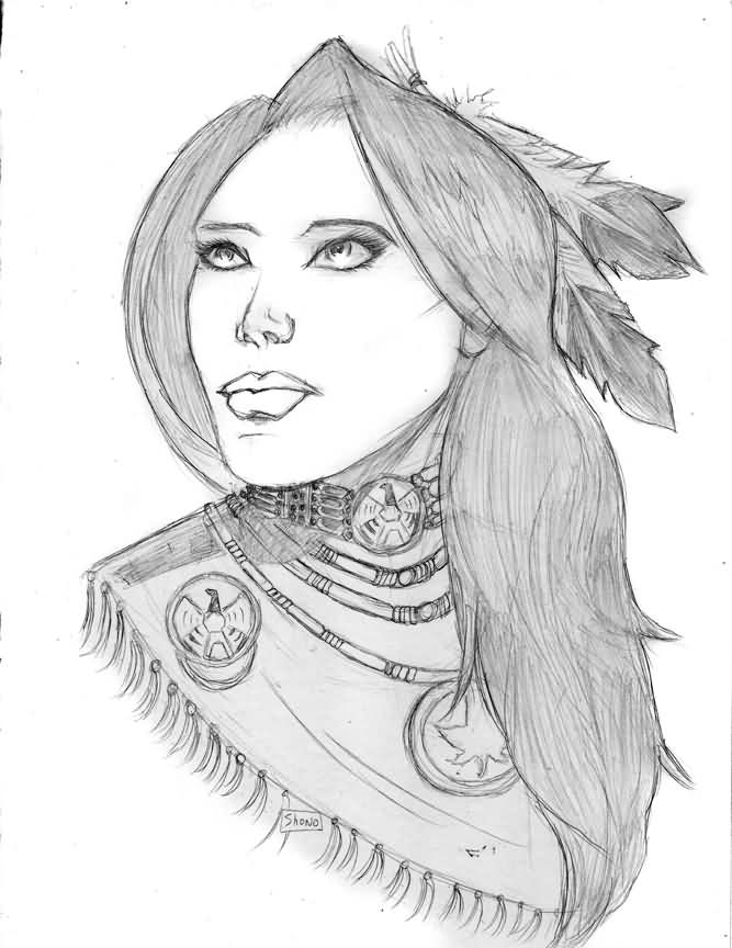 Native American Woman Pencil Sketch