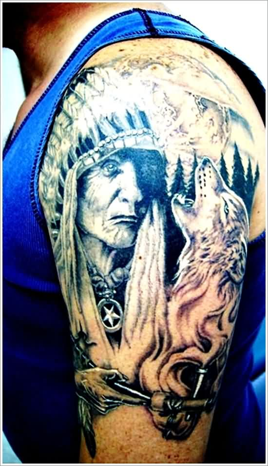 Native American Woman Proud Wolf Tattoos
