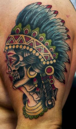 Native American Woman Skull Tattoo On Biceps