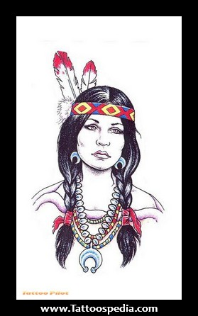 Native American Woman Tattoo Photo