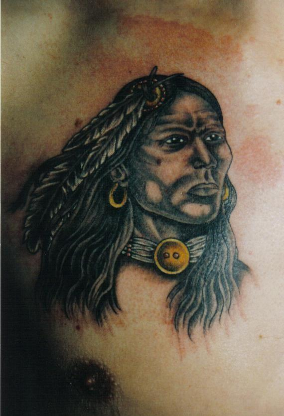 Native American Woman With Golden Earrings Tattoo On Chest