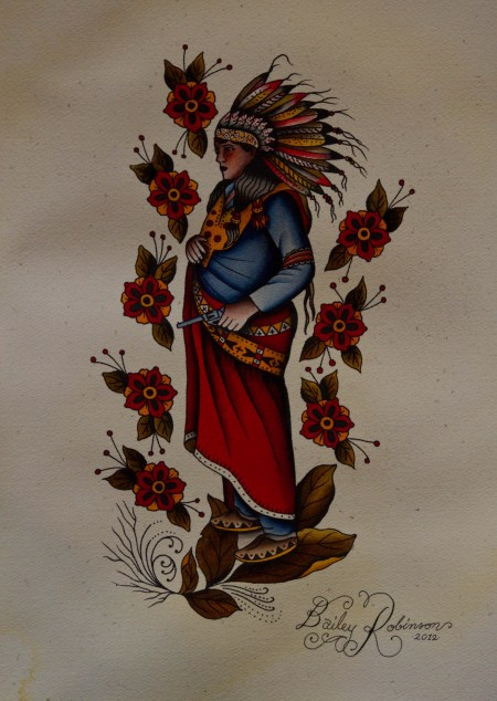 Native American Woman With Pistol And Red Flower Tattoos