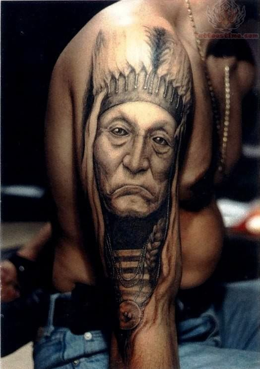 Native Old People Portrait Tattoo On Arm