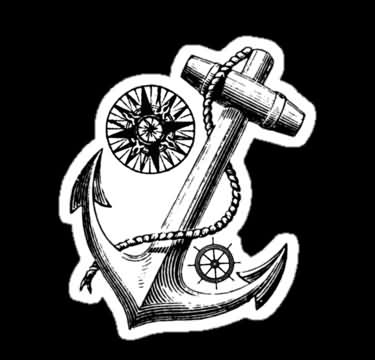 Nautical Compass Anchor And Wheel Tattoos Sticker