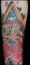 Nautical Compass And Red Rose Sleeve Tattoos