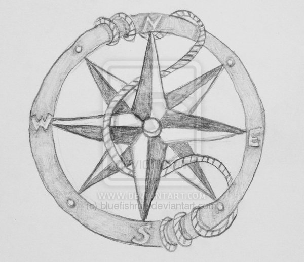 Nautical Compass And Rope Tattoos Sketch