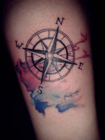 Nautical Compass And Watercolor Tattoos