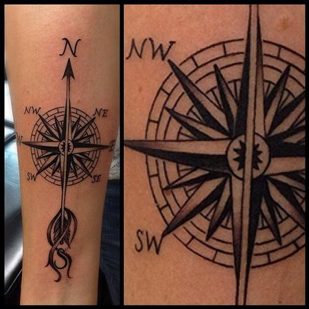 Nautical Compass Feather Tattoos
