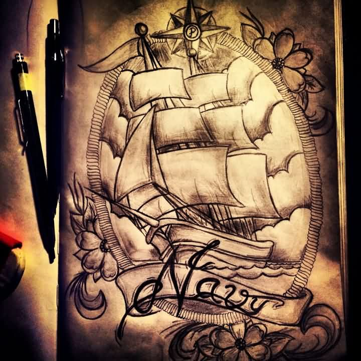 Nautical Compass Flowers And Pirate Ship Tattoos Sketch