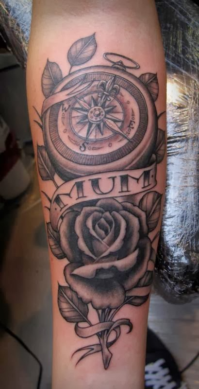 Nautical Compass Leaves And Rose Memorial Tattoos On Arm