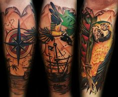 Nautical Compass Pirate Ship Tattoos