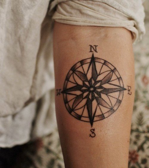 Nautical Compass Tattoo On Forearm