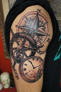 Nautical Compass Wheel And Pocket Watch Tattoos On Upper Arm