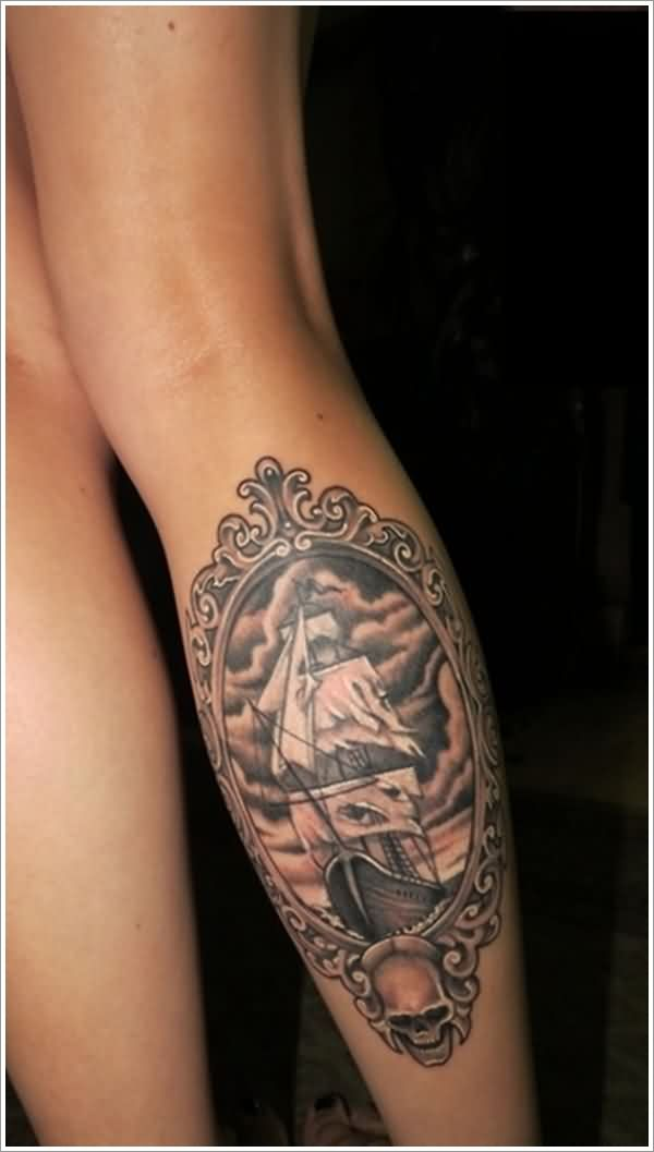 Nautical Frame Leg Tattoo Trend For Girls