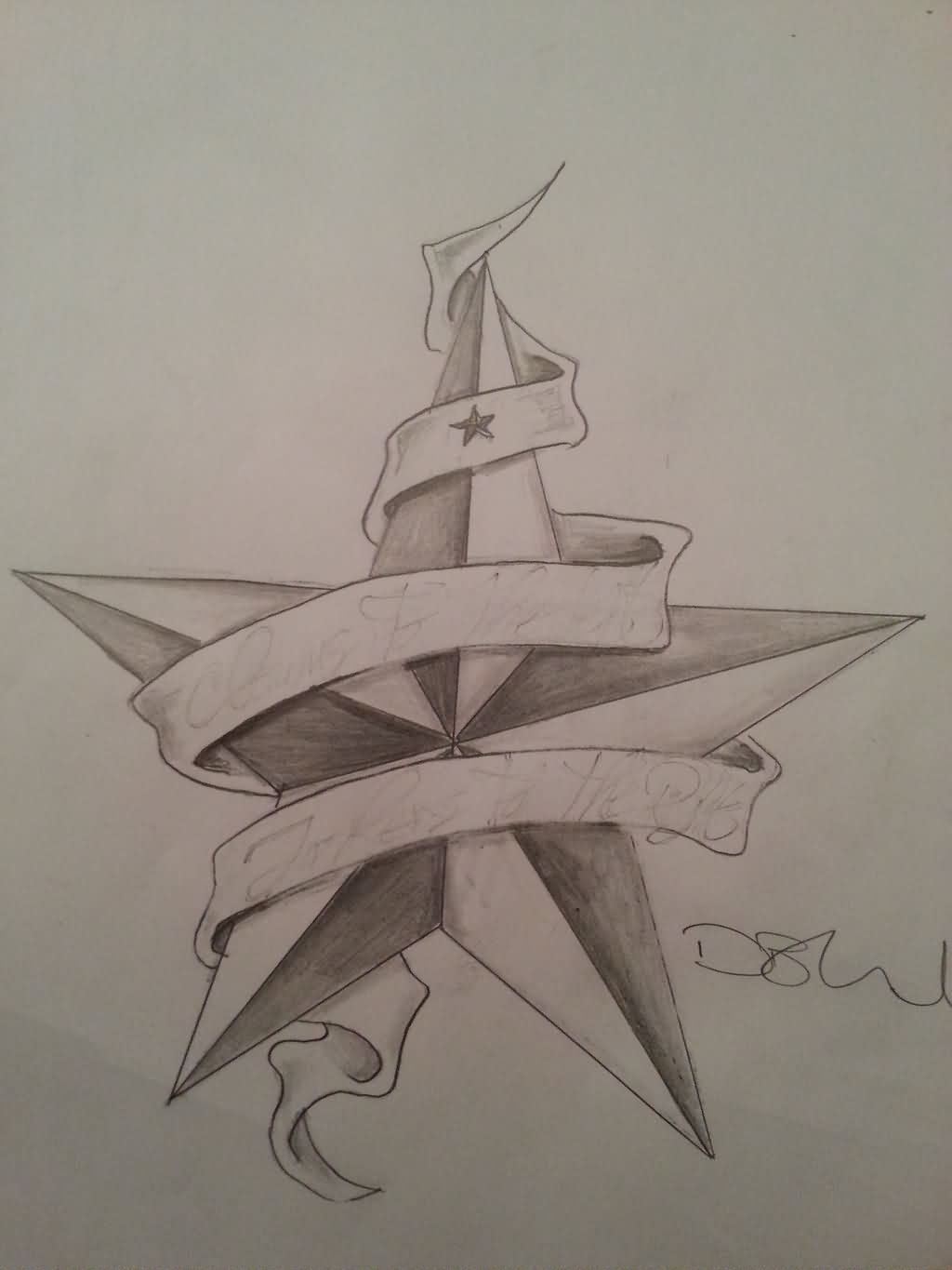 Nautical Star And Scroll Tattoo Sketch