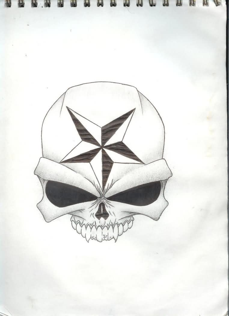 Nautical Star On Skull Tattoo Design