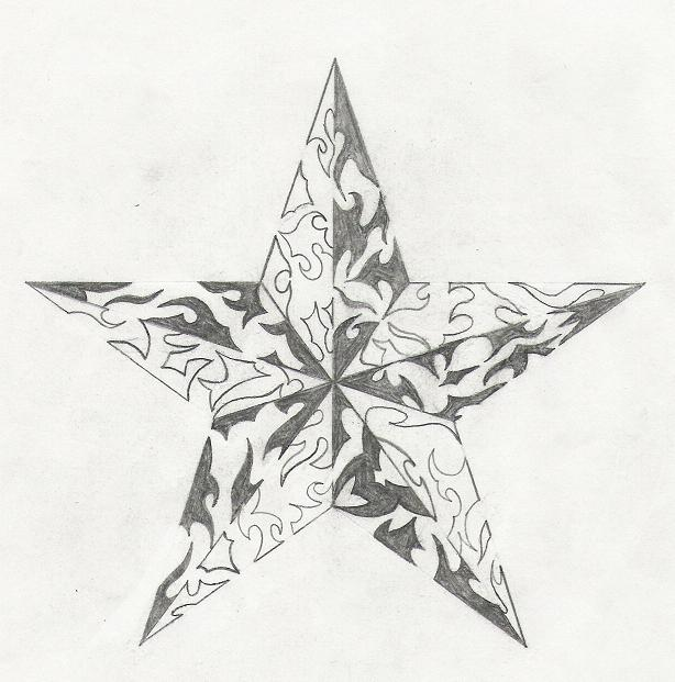 Nautical Star Tribal Tattoo Sketch