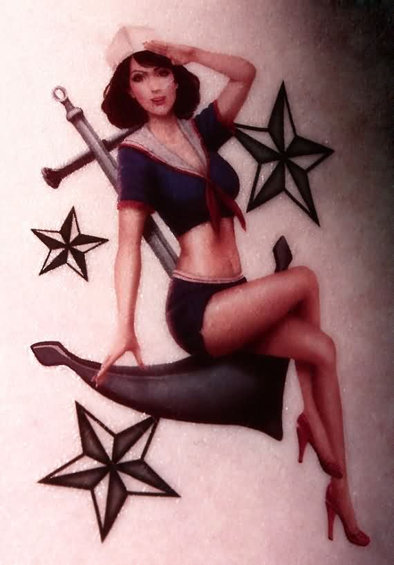 Nautical Stars And Pin Up Girl Tattoos