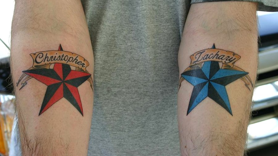 Nautical Stars Memorial Tattoos On Forearms