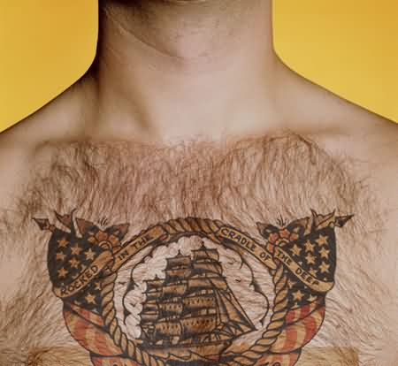 Nautical Tattoos On Hairy Chest