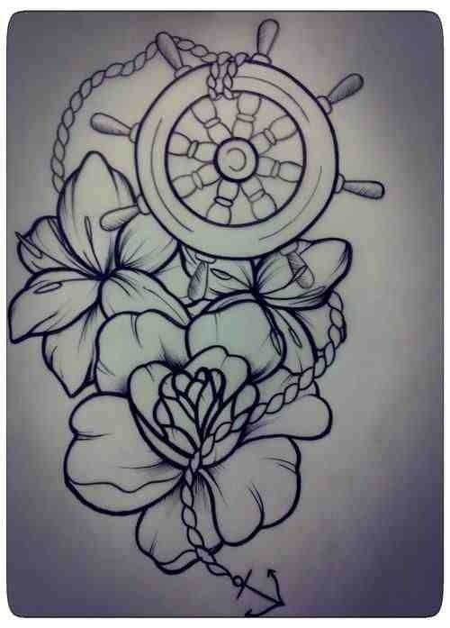 Nautical Wheel And Flowers Tattoos Sketch