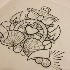 Nautical Wheel With Bow And Fan Tattoo Designs