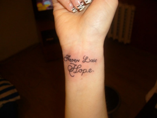 Never Lose Hope Inner Wrist Tattoo