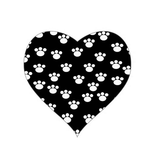 New Black And White Animal Paw Print Heart Tattoos