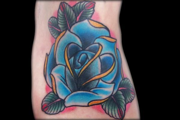 New Blue Rose Flower Tattoo On Foot