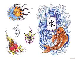 New Colorful Asian Symbol Tattoo Designs