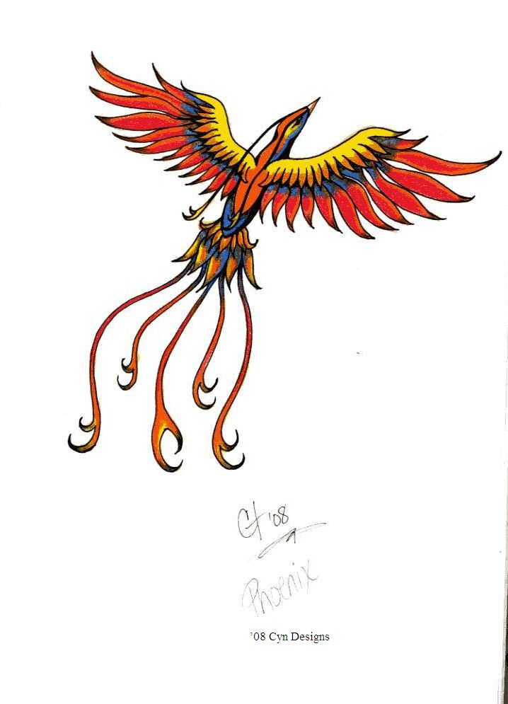 New Colorful Flying Phoenix Tattoo Design