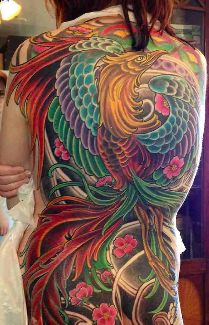 New Colorful Japanese Phoenix Tattoo On Whole Back