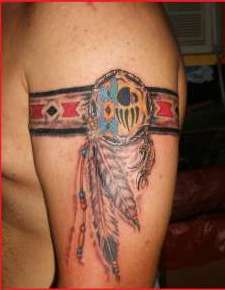 New Colorful Native American Feather Armbands Tattoos