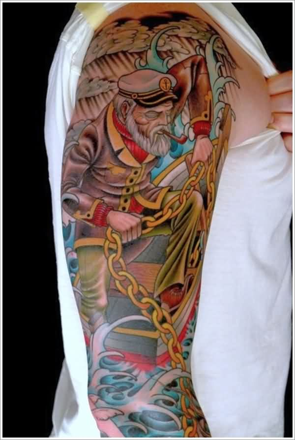 New Colorful Nautical Tattoos On Whole Sleeve (2)