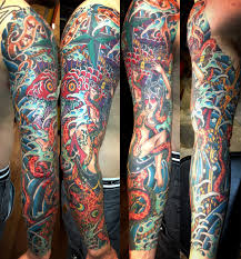 New Colorful Nautical Tattoos On Whole Sleeve