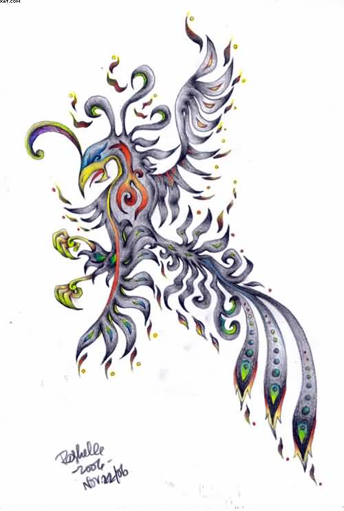 New Colorful Tribal Phoenix Tattoo Design