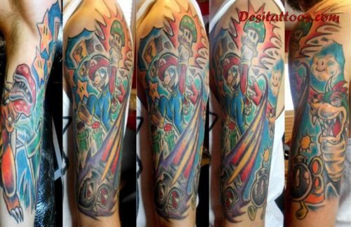 New Colorful Video Game Sleeve Tattoos