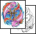 New Colorful Zodiac Pisces Tattoo Designs