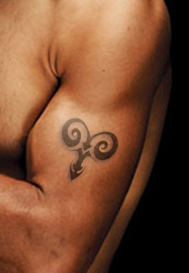 New Curly Tribal Aries Symbol Tattoos On Muscles