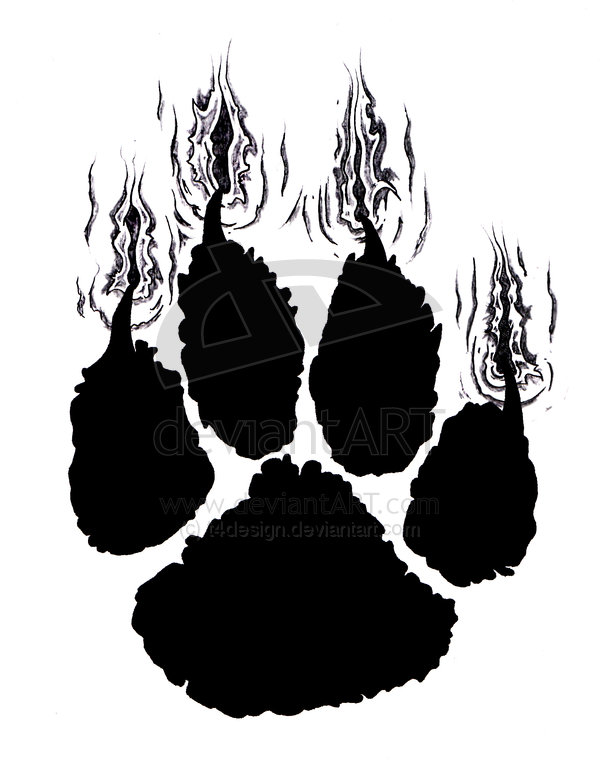 New Dark Black Ink Tiger Paw Tattoo Design