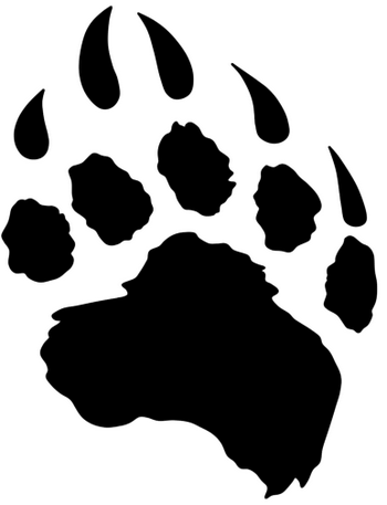 New Dark Black Paw Print Tattoo Stencil
