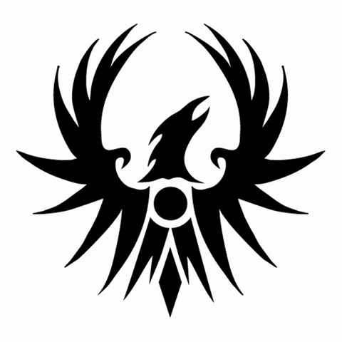 New Dark Black Phoenix Tattoo Stencil