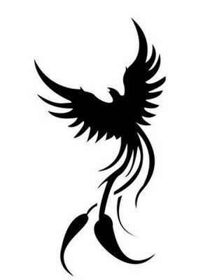 New Dark Black Tribal Phoenix Tattoo Design