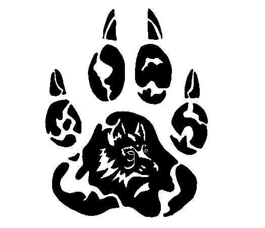 New Dark Black Tribal Wolf Paw Tattoo Sample